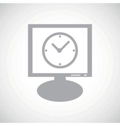 Clock grey monitor icon vector