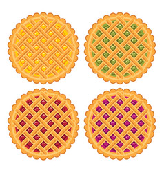 Collection of homemade fruit and berry pies vector
