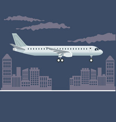 color poster city landscape with airplane in vector image