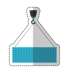 container hanging in crane vector image