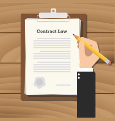 contract law business man signing a paper work vector image