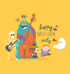 crazy music party with band cartoon halloween vector image