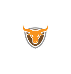 Creative angry shield bull head logo design symbol vector