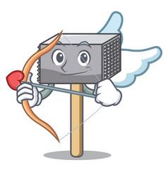 Cupid character of metallic meat tenderizer hammer vector