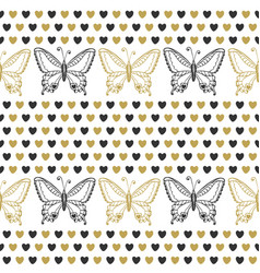 Cute seamless pattern with butterflies and hearts vector