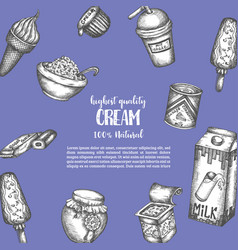 dairy background hand drawn vector image