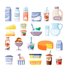 Dairy products milk cheese yogurt lecho ice cream vector