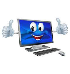 Desktop computer mascot vector