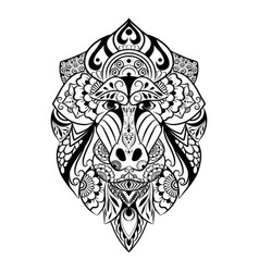 Doodle art entangle mandrill vector