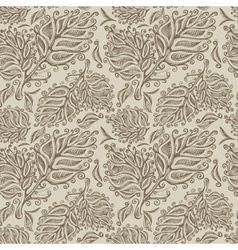 Doodle ink seamless leaf pattern vector