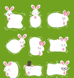 Easter bunny doodle boder vector