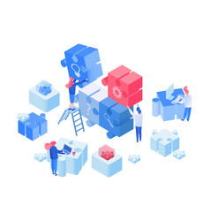employees coworking team working isometric vector image