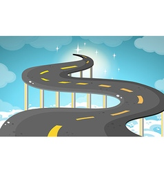 Empty road over the clouds vector