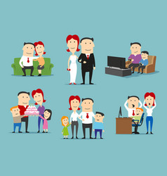 Family in different life stages cartoon set vector