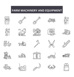 farm machinery and equiment line icons signs vector image