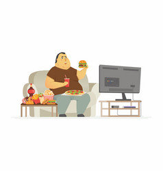 Fat man watching tv - cartoon people character vector