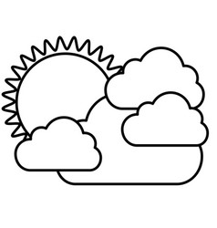 figure sticker sun with clouds icon vector image