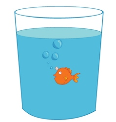 Fish inside a glass vector