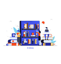 flat color modern design - e-library vector image
