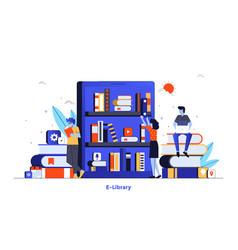 flat color modern design - e-library vector image
