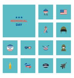 flat icons military man aircraft holiday and vector image