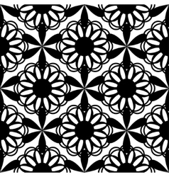 Floral seamless pattern black color vector