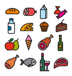 Food grocery icons vector