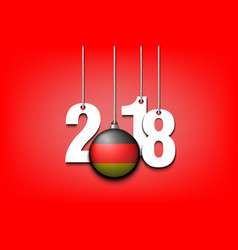 german flag and 2018 hanging on strings vector image