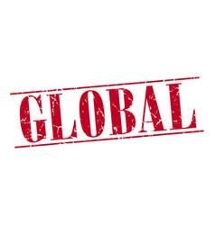 Global red grunge vintage stamp vector