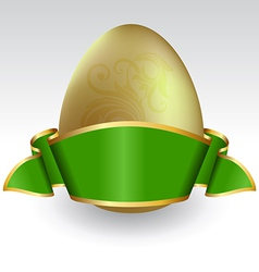 Gold easter egg tied with green ribbon vector