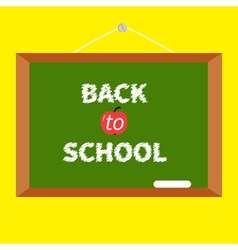 Green board with chalk on the wall Back to school vector image