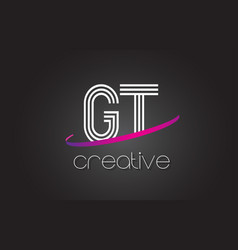 Gt g t letter logo with lines design and purple vector