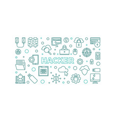 hacker concept outline horizontal vector image