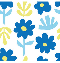 hand drawn colorful floral seamless repeat pattern vector image