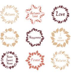 Hand drawn set autumn mandalas vector