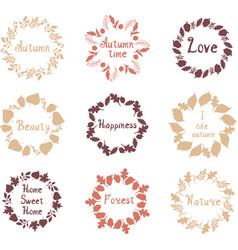 Hand drawn set of autumn mandalas with vector