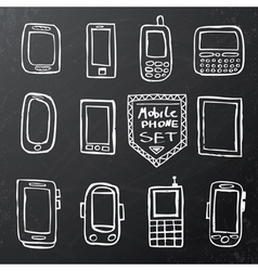 Hand drawn set of isolated mobile gadgets vector