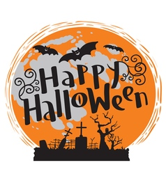 Happy Halloween lettering with moon and bats vector image