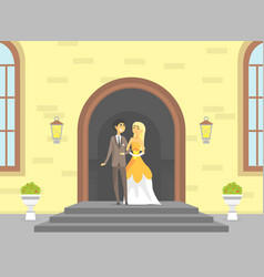 Happy just married couple romantic bride and vector
