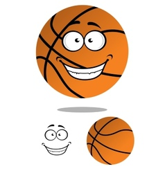 Happy smiling cartoon basketball vector image