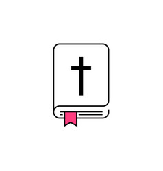 holy bible icon with the cross vector image