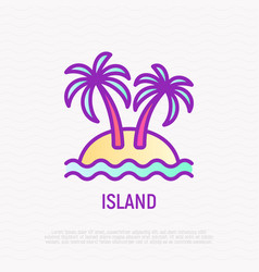 Island thin line icon palms sand and sea vector