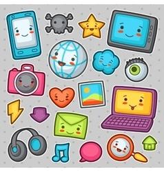 Kawaii gadgets social network items doodles vector