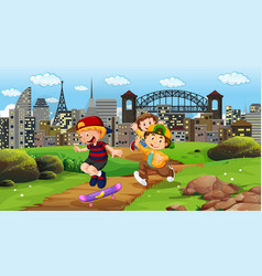 kids playing in city park vector image