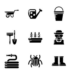 Large garden icons set simple style vector