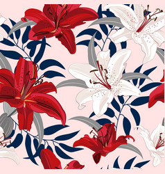 Lily flower seamless pattern on pink background vector