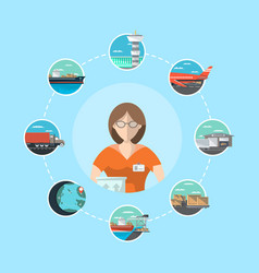 logistic management concept with service operator vector image