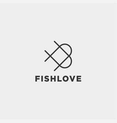 Love fish logo design icon element isolated vector