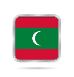 Maldives flag shiny metallic gray square button vector