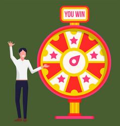 Man standing near fortune wheel winner game vector